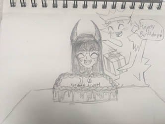 Birthday drawing  by TheHippyGeekEmo