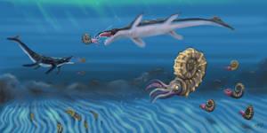 Ammonites and mosasaurus