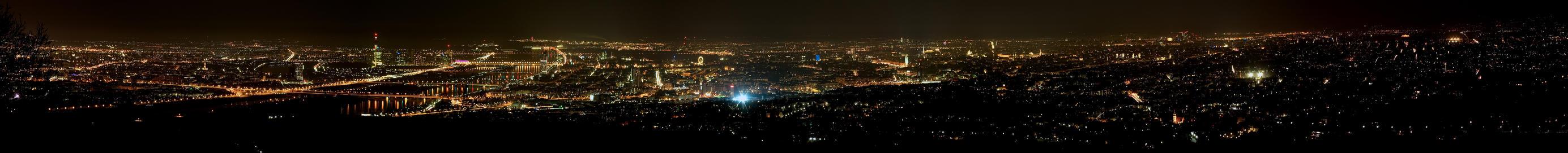 Vienna city night panorama