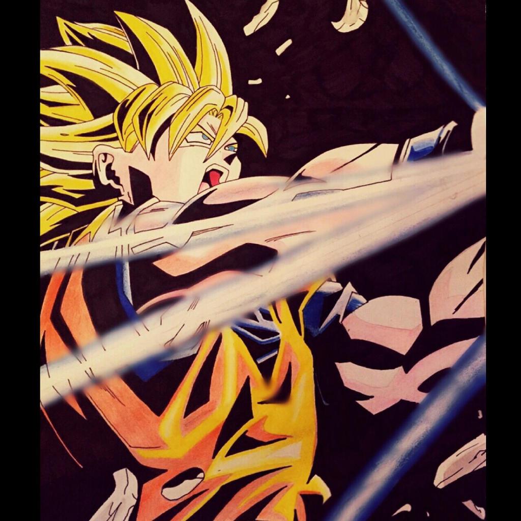Super Saiyan Goku performing the Kamehameha by ...