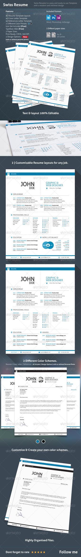 3 Piece Swiss Style Resume / CV by Dee-A