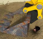 burying with Excavator 5-4