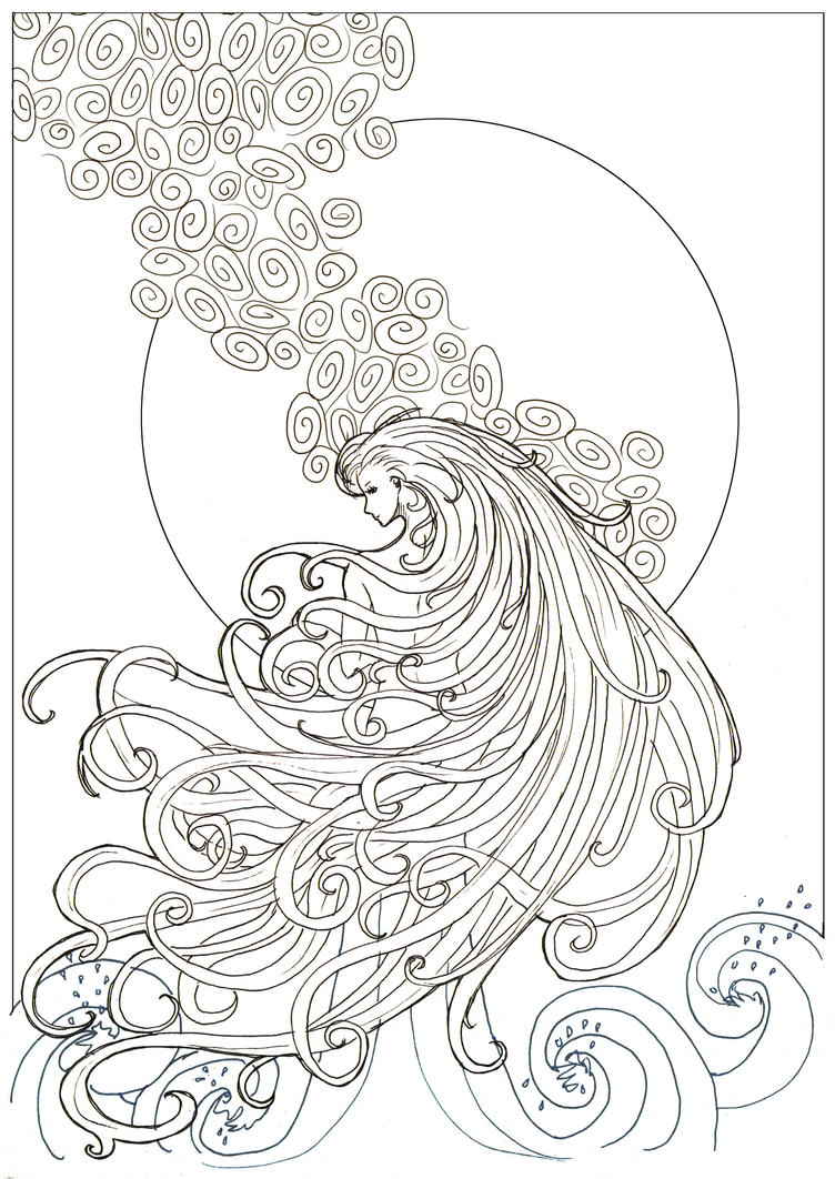 Ocean Line Drawing Waves by Lady l
