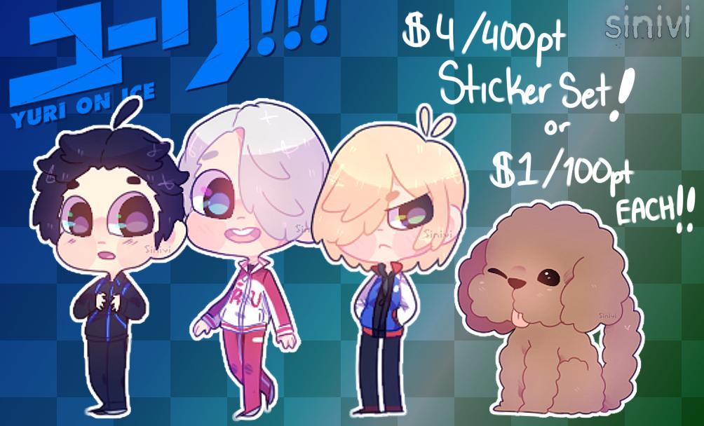 :.Yuri!!! On Ice Sticker Set! $4/FREE SHIPPING.: by sinivi
