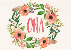 Ona Watercolor Name Art
