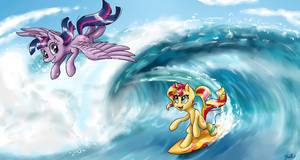 Surfing mares by GaelleDragons