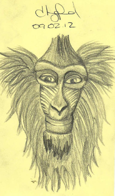 Doodle of the Day, Baboon, Baakir