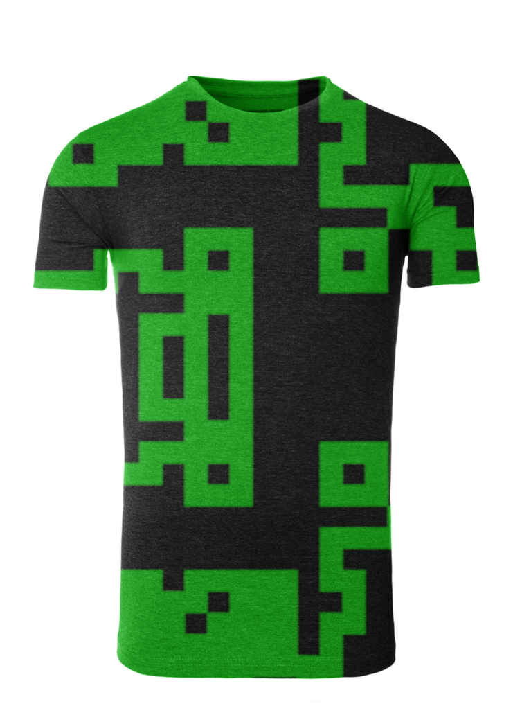 black and green pixel design on t shirt template by creativedyslexic