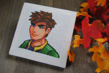 Stardew Valley Alex Cross Stitch Portrait