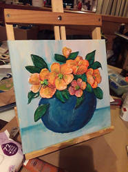 Flowers in a Blue Bowl