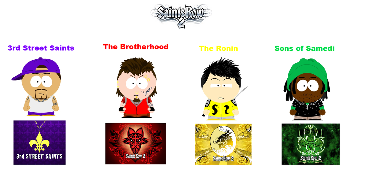South park saints row 2 gangs by deonpalmer45 on deviantart for Html table th 2 rows