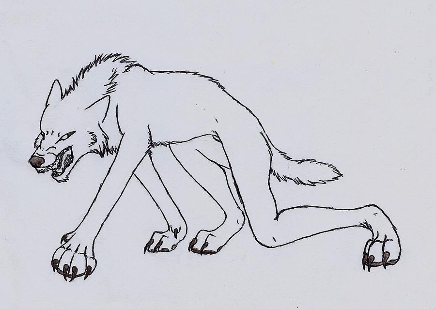 Halloween Werewolf Free Outline by wolfforce58 on DeviantArt
