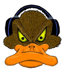 angry duck with headphones