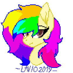 Commission (Pixel Headshot) - Rainbow Tashie by Chainsmokers-Ponies
