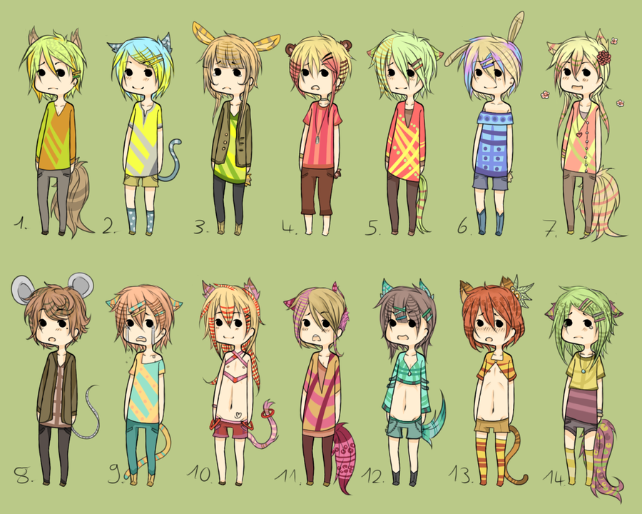 Adoptables - BIG Kemonomimi Set CLOSED by Chi-Adopts-Yo