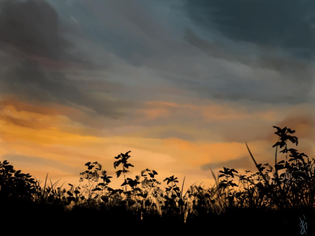 Landscape - Evening by Gluxar
