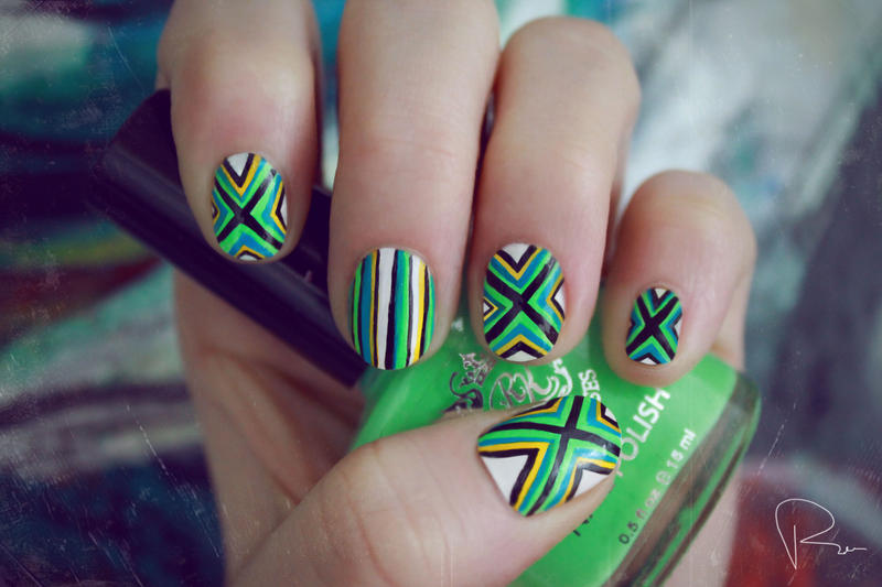 Poncho Pattern Nails by psychoren