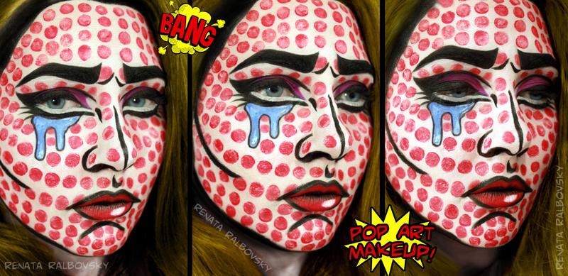 Roy Lichtenstein - Crying Girl Inspired Makeup by psychoren