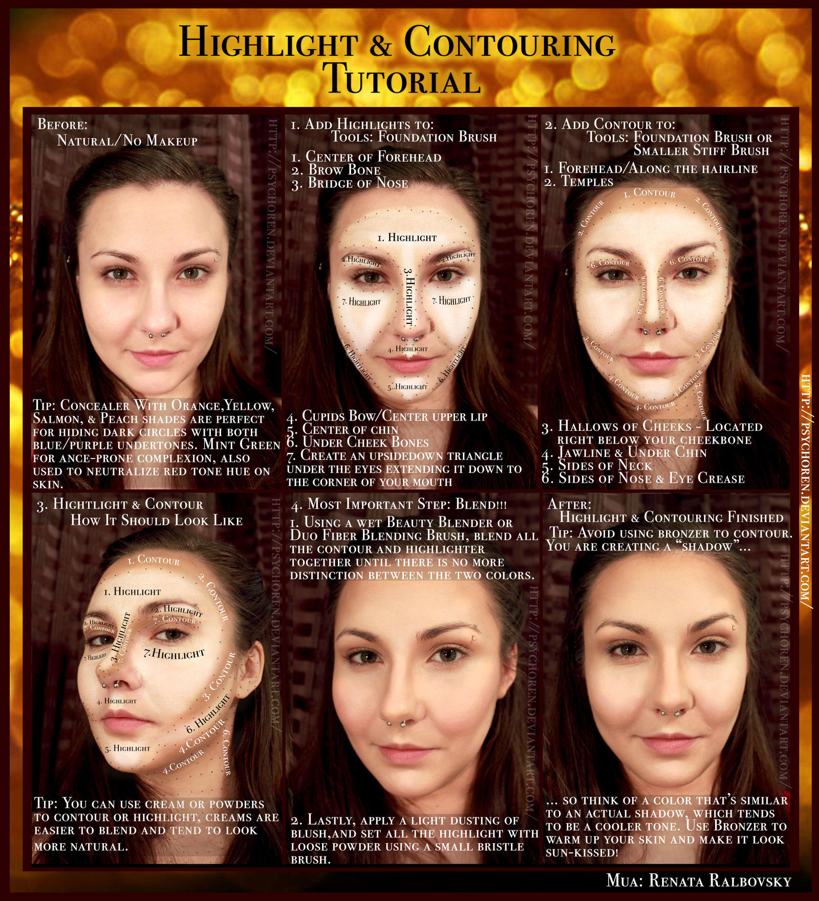 highlight and contouring tutorial by psychoren on deviantart