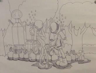 Little boy and lizard boy drink moonshine jugs ! by Jjunktox