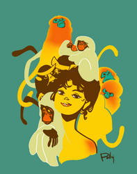 girl with monkeys by PollyGuo
