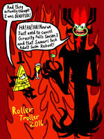 Bill Cipher and Aku: The Trolls of Evil! by Mustache-Twirler