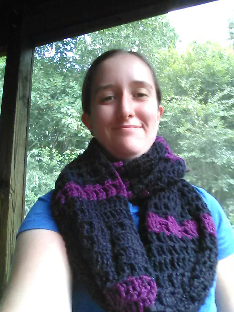 (for sale) Black and Purple Infinity scarf by Shankler