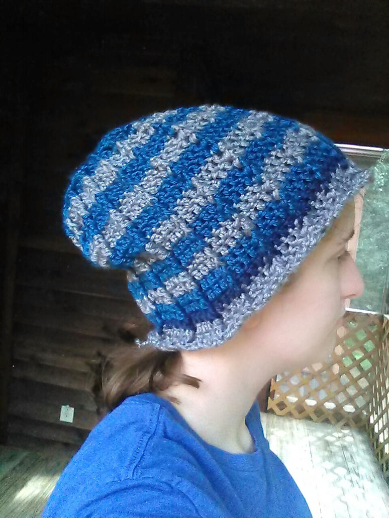 Blue striped men's hat by Shankler