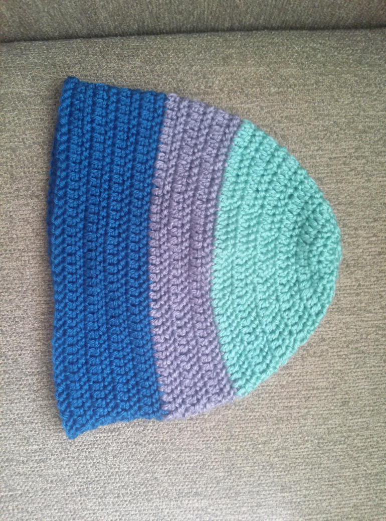 Tri-color crochet hat by Shankler