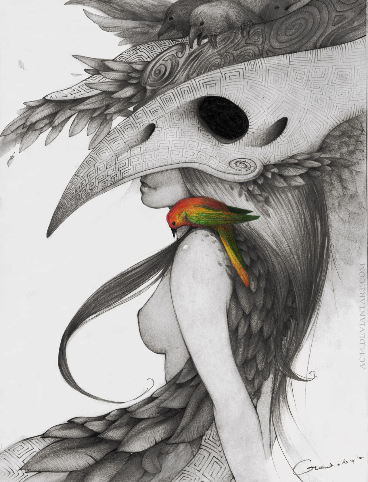 Girl with Bird by AC44