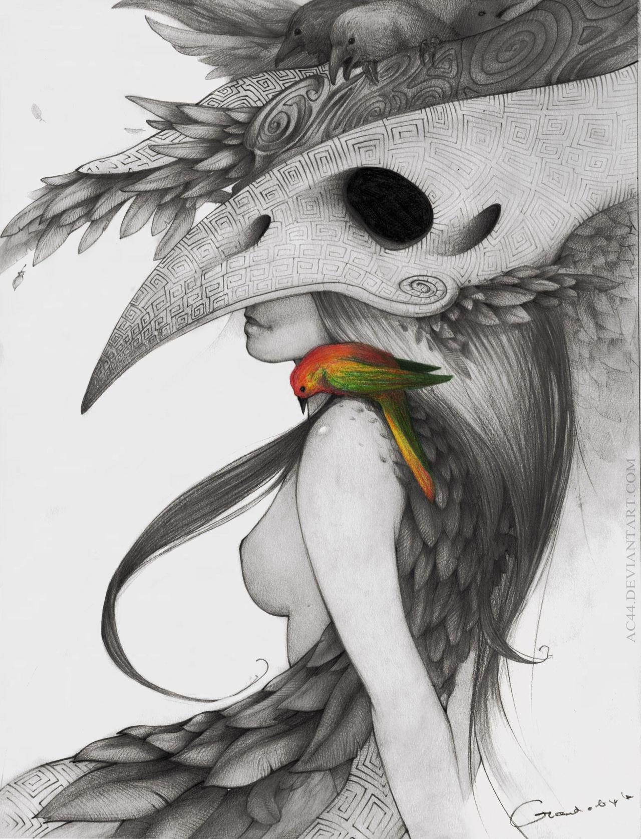 Girl with Bird by VladGradobyk