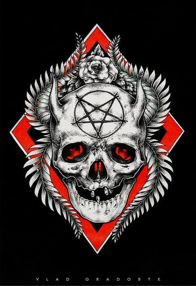 Devil skull tattoo sketch by AC44