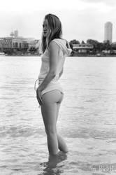 Nastya on the river Rhine in Cologne