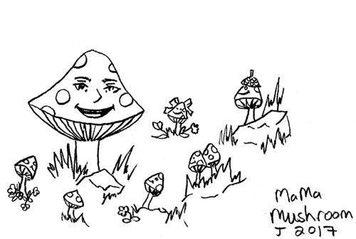 Mama Mushroom, Littlebit, 5, 2017 by krazysidhe