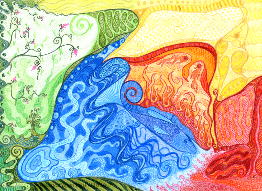 Four Elements Art : Mother nature four elements by michaelsilverleaf on