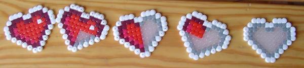 Hama Beads - zelda hearts by acidezabs