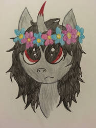 Sombra and Flowers by Ice-Star-Pony