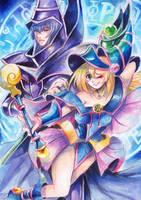 dark magician and dark magician girl + speedpaint by yami11