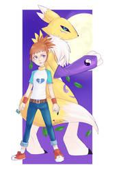 Makino Ruki and Renamon