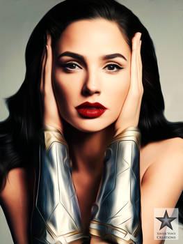 Oil Painting Gal Gadot Wonder Woman