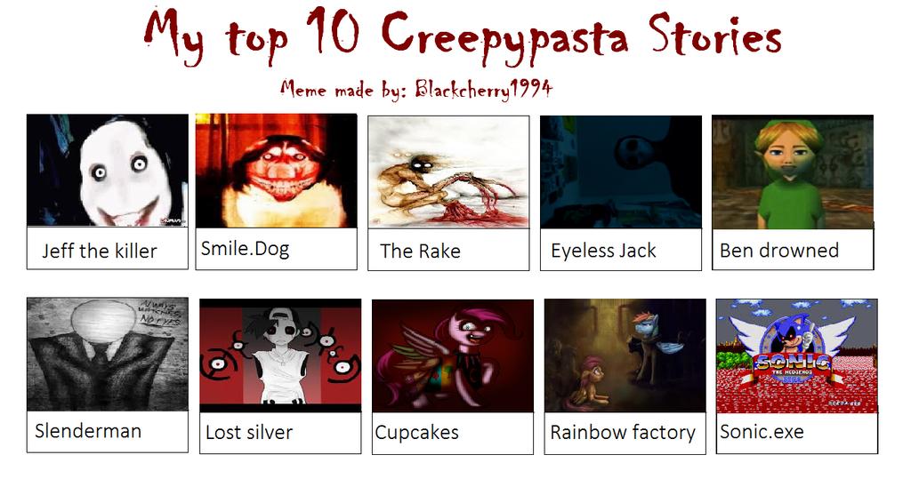 Creepy Smile Meme Top Ten Creepy Pasta Meme by