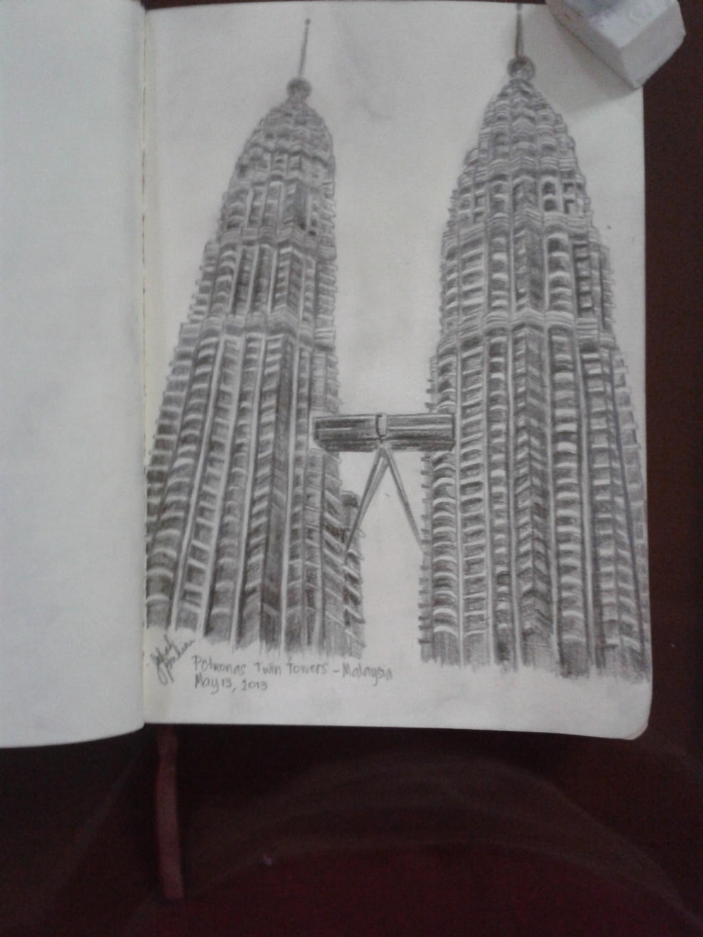 It is a picture of Current Twin Towers Drawing