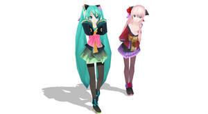 MMD- Kimono Miku and Luka