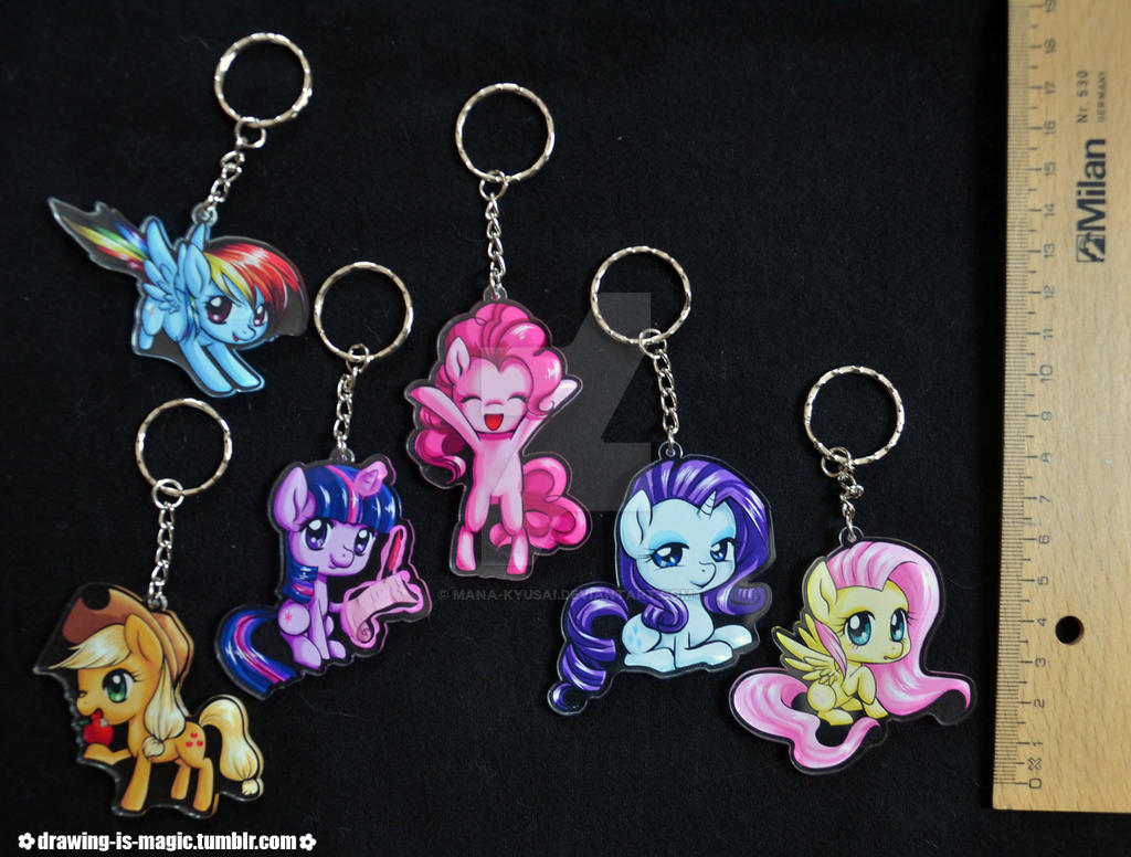 Mane6 Chibi Key chains by Mana-Kyusai