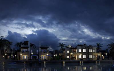 Sea Houses.Night.01 by pitposum