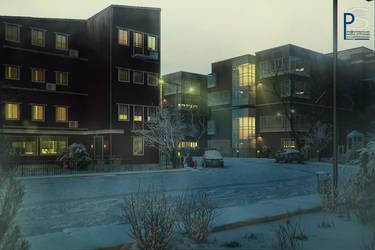 snowy street by pitposum