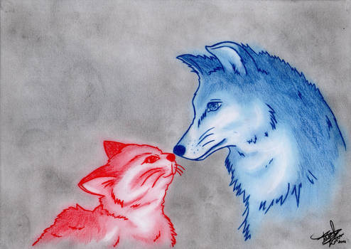 Friendship (cat and wolf)