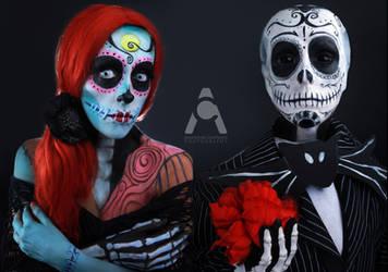 Jack And Sally Sugar Skull Skellington