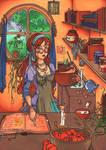 Miranda's kitchen by fionaa-illu