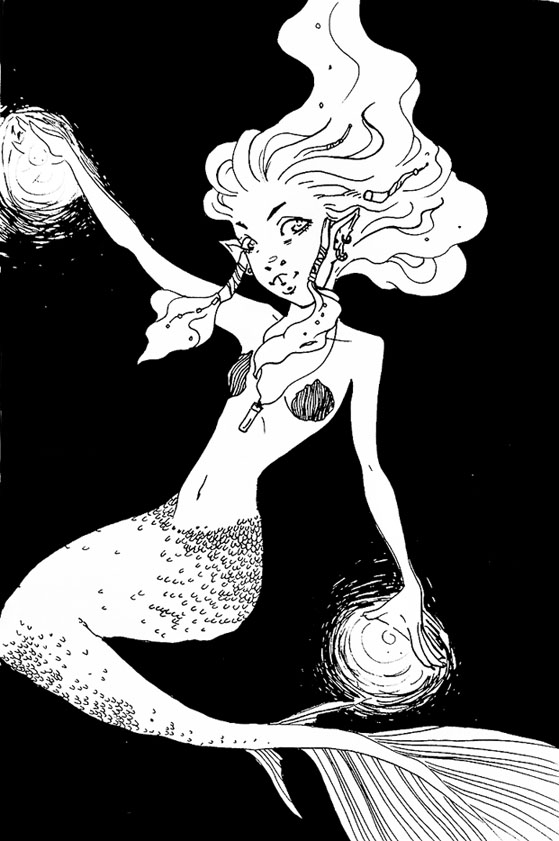 Inktober Mermaid witch by zombie-fever